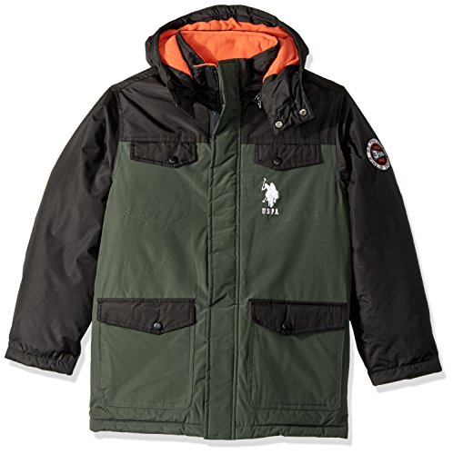 U.S. Polo Assn. Big Boys' Outerwear Jacket (More Styles Available), Parka Jacket Olive, 14/16