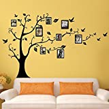 Large Family Tree Wall Decal. Peel & stick vinyl sheet, easy to install & apply history decor mural for home, bedroom stencil decoration. DIY Photo Gallery Frame Decor Stic