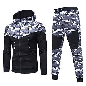 Photno Mens Tracksuits Sport Suit Tops Sweatpants Full Zip Hooded Sweatshirt and Pants Set for Men 2018