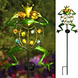 TAKE ME Garden Solar Lights Outdoor,Solar Powered Stake Lights - Metal OWL LED Decorative Garden Lights for Walkway,Pathway,Yard,Lawn (Multicolor) (Frog.)