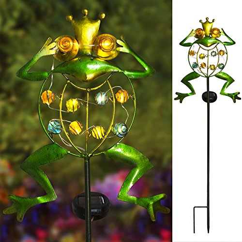 TAKE ME Garden Solar Lights Outdoor,Solar Powered Stake Lights - Metal OWL LED Decorative Garden Lights for Walkway,Pathway,Yard,Lawn (Frog.) by TAKE ME (Image #4)