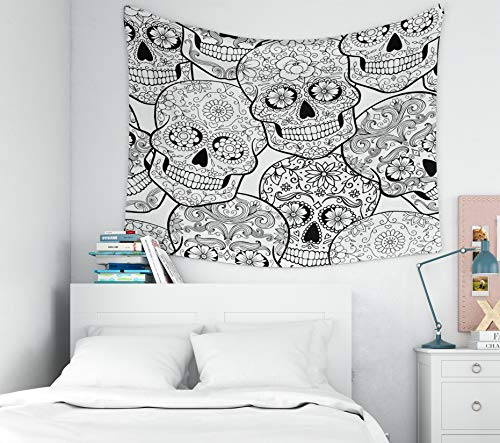 (Musesh Tapestry Wall Hanging, Polyster Tapestry Wall Hanging for Bedroom Living Room Decor Inhouse Halloween Pattern Sugar Skulls Coloring Page 80x60 Inches)
