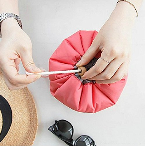 Caso 3PC nuevo de la manera del recorrido del maquillaje del bolso cosmético de la bolsa del bolso del artículo de tocador antiguo cilíndrico, azul Red