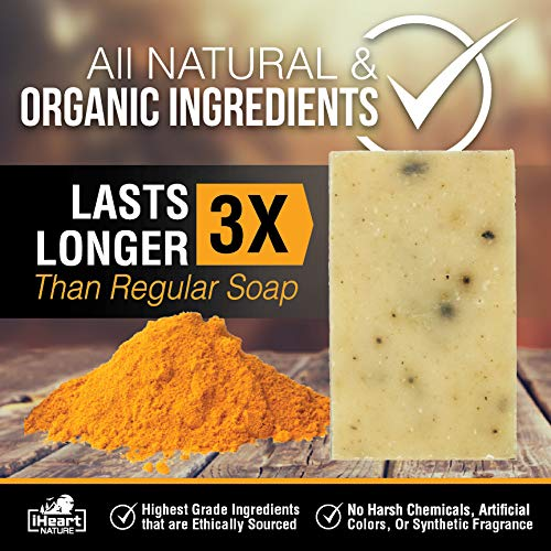 Turmeric Soap Bar (Large 6 Ounce) Made in USA (Beautiful Glowing Skin Brightening Lightening Whitening) Ayurvedic Organic Vegan Artisanal Natural Handmade Aromatherapy Soap