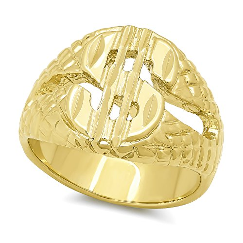 The Bling Factory Men's Wide 17mm 14k Gold Plated Cash Money Dollar Sign Pinky Ring - Size 7 + Jewelry Polishing Cloth