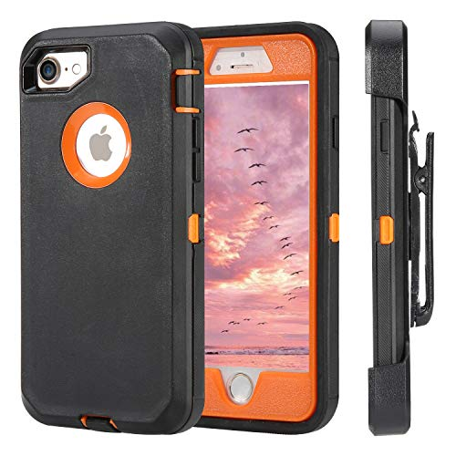 for iPhone 7 Case iPhone 8 Case Full Protective Anti-Scratch Resistant Cover case for Apple iPhone 7 & iPhone 8 with Holster Belt Clip Stand Cover and Built-in Screen Protector Black/Orange
