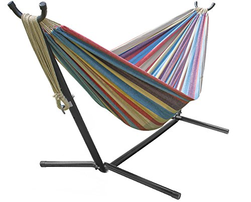 Sorbus Double Hammock with Steel Stand Two Person Adjustable Hammock Bed - Storage Carrying Case Included (Blue/Sand/Purple/Red) ()