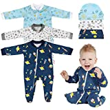 Lictin 6pcs 100% Cotton Baby Long-Sleeved Romper Zipper Pajamas with Pacifier Chains or Hat