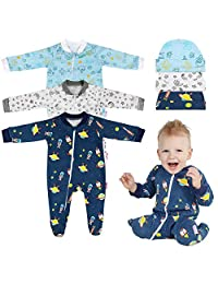 Lictin 6pcs 100% Cotton Baby Long-Sleeved Romper Zipper Pajamas with Hat (0-3M)