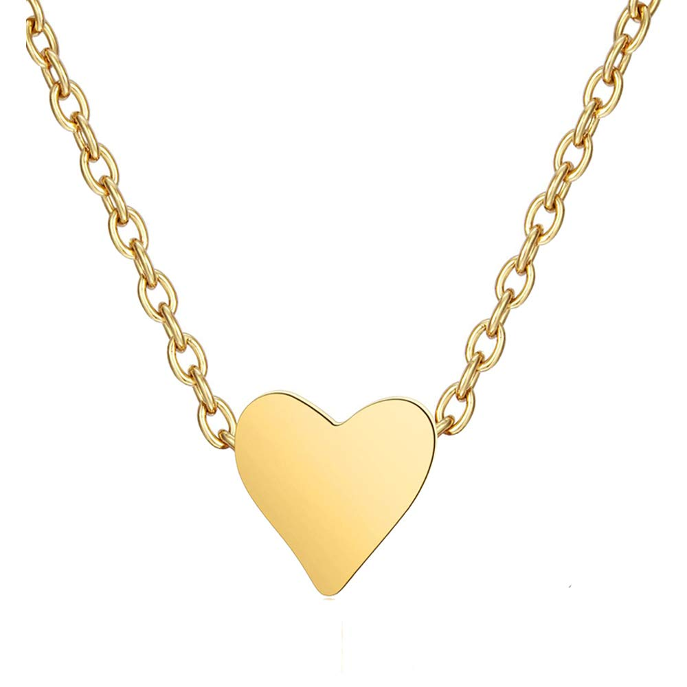 ouzetie Mini Tiny Heart Necklace Pendant with 14K Yellow Gold Plated Sterling Charm Love Choker Pendant for Women Girls Chain