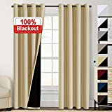 Flamingo P 100% Blackout Curtains 84 inches Long Lined Curtains 84 Inches for Bedroom Grommet Thermal Insulated Blackout Curtains Energy Saving Double Layer Curtains for Living Room, Wheat, Set of 2