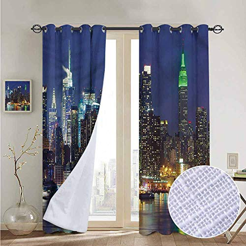 fengruiyanjing 2 Grommet Top Curtain Panels for Living Room Bedroom Patio Door, New York, NYC Midtown Skyline 72