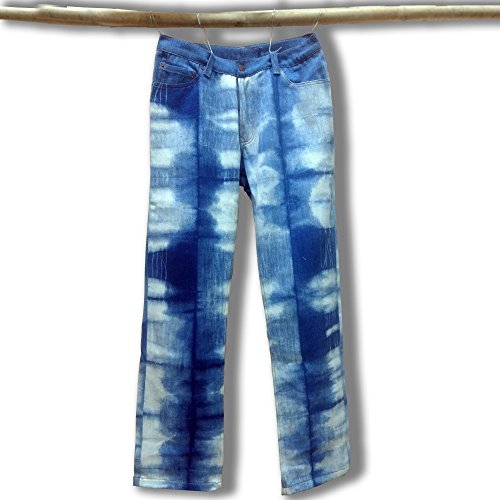 Denim Club India Hand-crafted Khadi Denim Jeans - Tie & Dye by India Handloom Store