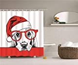 YBSJDQ Pet Decoration. Pet Dog with Red Eyes and Hat.Shower Curtain. Waterproof. Proof. Easy to Clean. 150X180Cm.