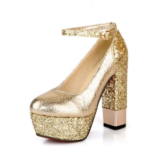 VogueZone009 Womens Closed Round Toe High Heel Platform Frosted Mary Jane Pumps with Assorted Colors Gold mRfDV
