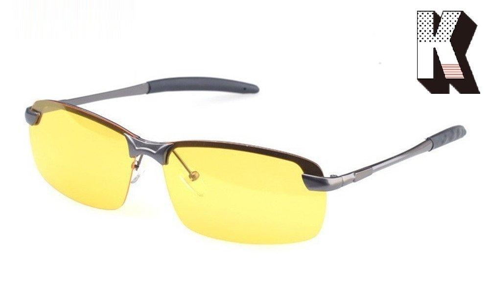 Kagogo Mens Womens HD Night Vision Polarized Sports Anti Glare Glasses with Yellow Lens for Outdoor Activities Safe Night Driving Sunglasses (Grey Frame043) by Kagogo