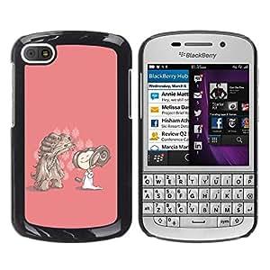 Qstar Arte & diseño plástico duro Fundas Cover Cubre Hard Case Cover para BlackBerry Q10 ( Cartoon Character Drawing Pink Dog Girl)
