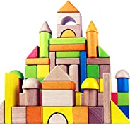 Migargle Wooden Building Blocks Set for Kids - Rainbow Stacker Stacking Game Construction Toys Set Preschool C