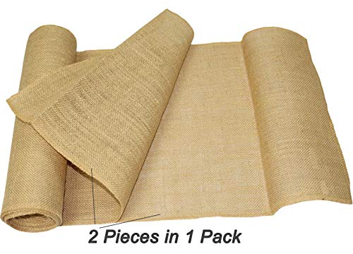 COTTON CRAFT - 2 Pack - Jute Burlap Table Runner - 12 in. x 108 in. Each - 6 Yards Total - Rustic Hessian - Overlocked Edges - for Weddings, Home Décor & Crafts - CONTENTS: Package contains Two Natural Color Jute Burlap Table Runners Rolls with overlocked and sewn edges SIZE: Each Table Runner Roll measures 12 inches wide and 3 Yards long (108 inches). HIGH QUALITY: Made from 100% Natural Jute Fibers. Tighter and no -gap weave makes it more durable material. - table-runners, kitchen-dining-room-table-linens, kitchen-dining-room - 51hJMBYFLQL -