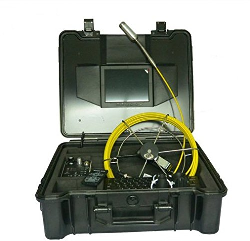 MABELSTAR 29mm self-levelling 512Hz transmitter chimney borehole inspection camera with 50m fibreglass push rod cable ()