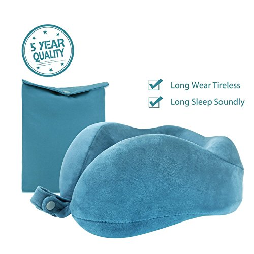 Ocean Blue Foam (Travel Pillow Neck Pillow Travel size U Memory Foam For Traveling By Airplane Car With Comfortable Velvet Cover(Ocean Blue))