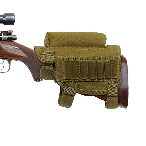 Adjustable Buttstock Shell Holder - Nylon Cheek Rest Pouch for Tactical Hunting Rifle Shotgun with Ammo Carrier Case Khaki