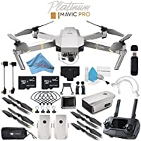 DJI Mavic Pro Platinum CP.PT.00000071.01 + Aircraft Sleeve for Mavic Pro Quadcopter + Mavic Intelligent Flight Battery (Platinum) + Monitor Hood for Rmote Controller + 64GB microSDXC Bundle