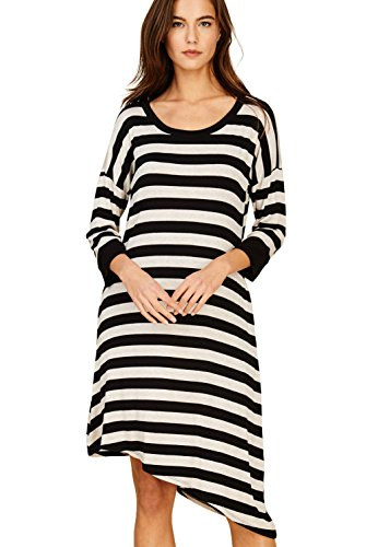 Annabelle Women's Scoop Neck Quarter Band Sleeves Multiple Stripes Knit Print Uneven Hem Loose and Relaxed Midi Plus Size Dress with Side Pockets Black-Oatmeal XX-Large ()