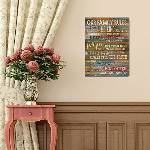 Marla Rae 12-Inch-by-18-Inch Earth Tones Our Family Rules Wall Art Decor