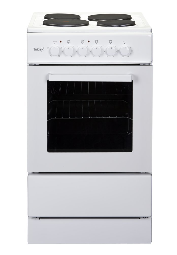 Attractive Single Oven Electric Cooker Part - 10: Teknix TK50SEW White 50cm Single Oven Electric Cooker With 4 Solid Plate  Hob: Amazon.co.uk: Large Appliances