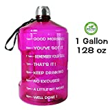 QuiFit 1 Gallon Water Bottle Reusable Leak-Proof Drinking Water Jug for Outdoor Camping Hiking BPA Free Plastic Sports Bottle(Purple)