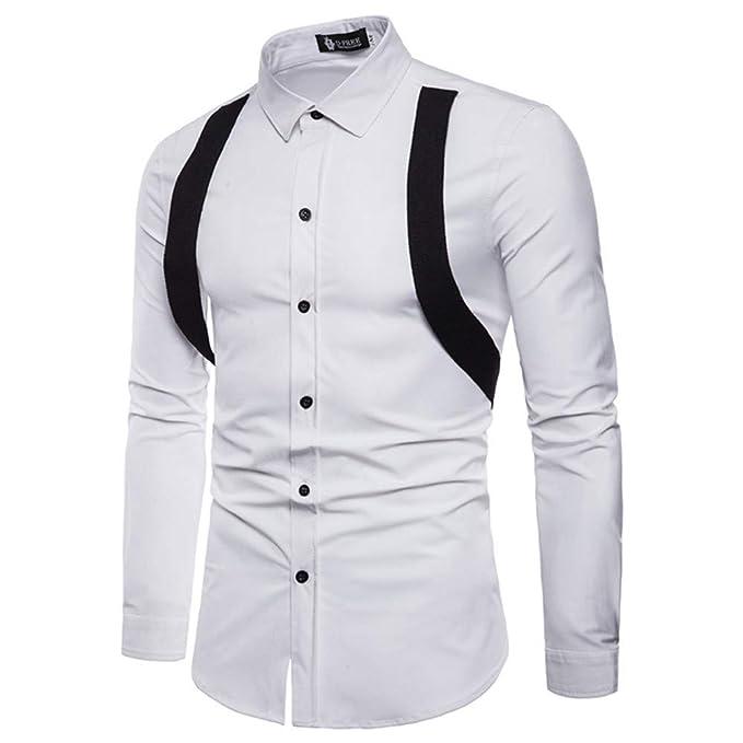 Blusa de Hombre de BaZhaHei, Camisas para Hombre de Manga Larga de Costura de Banda