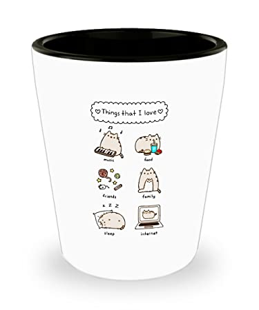 Amazon De Things Pusheen Loves Tasse 1 5 Oz Shot Glas Katze