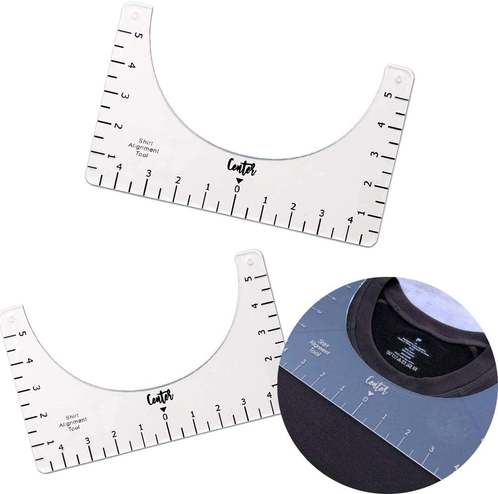 T-Shirt Alignment Tool for Making Fashion Center Design Tee Ruler Guide for Applying Vinyl and Sublimation Designs On Shirts with Size Chart 4PCS T-Shirt Alignment Ruler