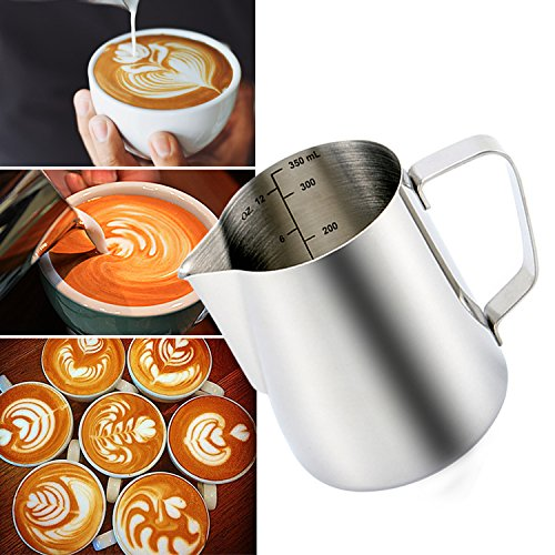 Cheap 12oz (350ml) Milk Frothing Pitcher,18/8 Stainless Steel Milk Steaming Pitcher, Measurements on Both Sides, Perfect for coffee, Milk Frothers, Latte Art, Espresso Machines
