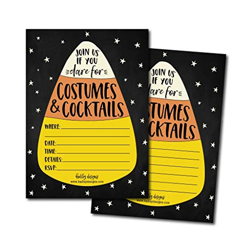 25 Halloween Party Invitation Cards for Adults, Vintage Birthday or Wedding Bridal or Baby Shower Paper Invites, Scary Black Cat Candy Corn Costume, DIY Horror Spooktacular House Bash Idea Printable