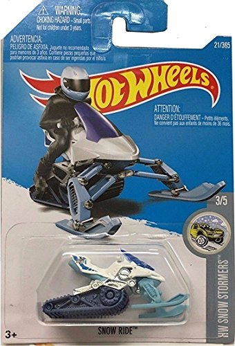 Hot Wheels 2017 HW Snow Stormers Snow Ride (Snow Mobile) 21/365, White and Light Blue (Snow White And The Seven Dwarfs Ride)