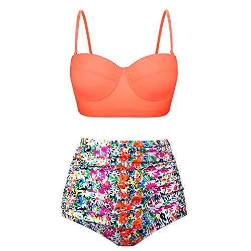 (Dressin Women High Waisted Bikini Set 2019 Two Pieces Bathing Suit Swimsuits Retro Ruffle Top Swim with Swim Bottom)