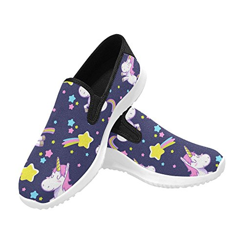 Interestprint Söta Unicorn Kvinna Slip-on Dagdrivaren Skor Duk Mode Gymnastik Multi 1