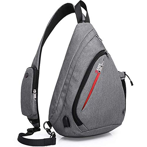 KAKA Sling Bag for Travel Hiking Camping Small Backpack,Anti Theft RFID Purse Crossbody Backpack Adjustable Shoulder Strap - Compact Backpack for Men Women(gray)