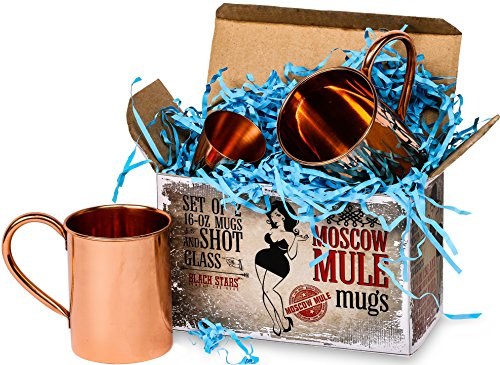 Gift Set Vodka (Moscow Mule Cups for You, Gift Set of 2 16-oz Copper Mugs and Free Shot Glass, Unique Quaint Gift Box, 100% Copper Moscow Mule Mugs by Black)