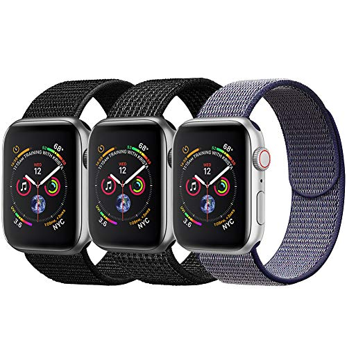 amBand Sport Loop Band Compatible with Apple Watch 42mm 44mm, Lightweight Breathable Nylon Replacement Band Compatible with iWatch Series 1/2/3/4, Sport, Edition-3 Pack A