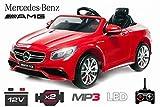 Lizenz Kinderauto Mercedes - Benz S63 AMG 2 x 35W 12V MP3 RC Elektroauto Kinderfahrzeug Ferngesteuert Elektro (Rot)