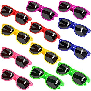 Kids Sunglasses with UV400 Eye Protection, 12 Pack Neon Sunglasses for kids, Teens, and Adults, Bulk Party Favors, Fun Gifts, Goody Bag Fillers