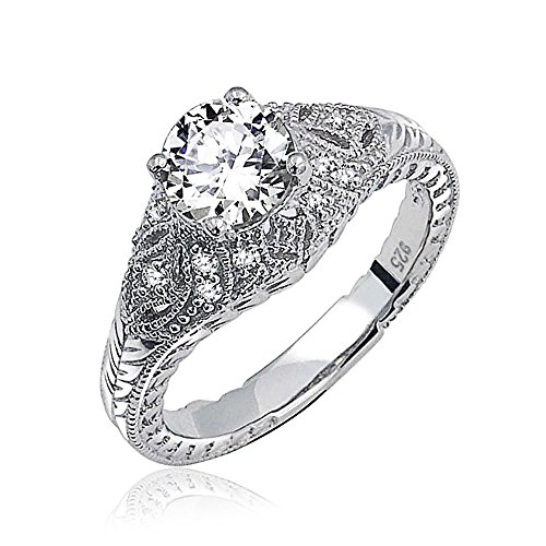 Side Deco Ring (Bling Jewelry Sterling Silver Solitaire Deco Style CZ Dome Engagement Ring)