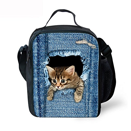 Cozeyat Cat Print Lunch Bags for School Cowboy Print Picnic Bags for Kid Boys