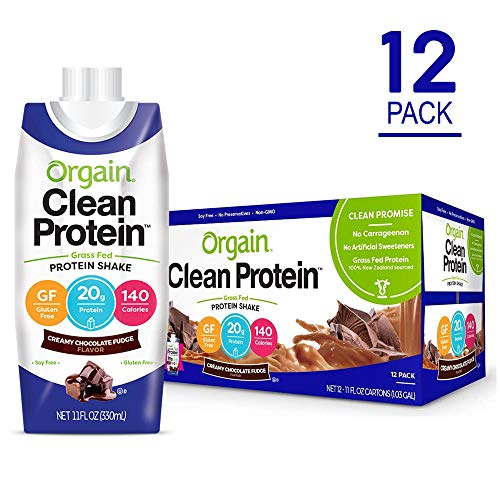 Orgain Grass Fed Protein Shake, Creamy Chocolate Fudge, Gluten Free, Kosher, Non-GMO, 11 Ounce, 12 Count