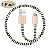 Cable for iPhone, 1-PACK 5FT/1.5M Nylon Braided 8 pin Charging Cables USB Charger Cord, Compatible for iPhone X / 8 / 8 Plus / 7 / 7 Plus / 6 / 6 Plus / iPad and more (Gold)