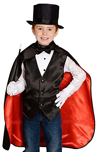 Aeromax Jr. Magician with Cape, Vest, Hat, Gloves, Bowtie and Wand Black/Red -