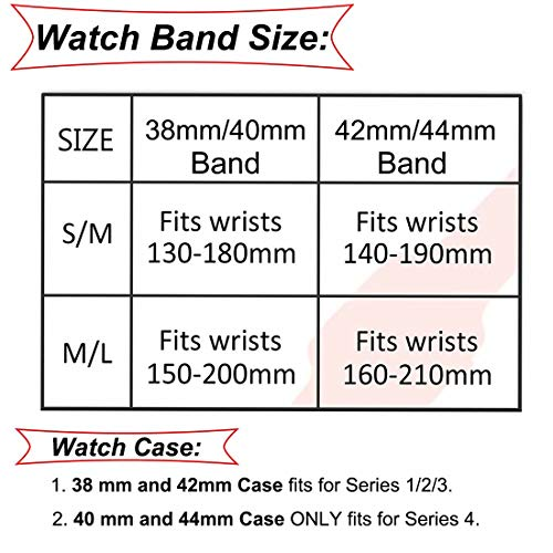 YC YANCH Compatible with Apple Watch Band 38mm 40mm 42mm
